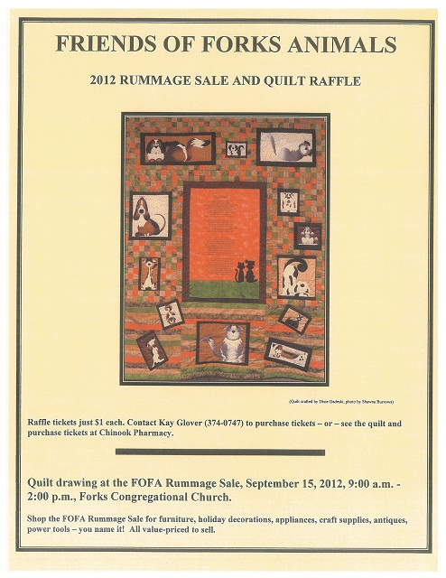 Friends of Forks Animals 2012 rummage sale and quilt raffle