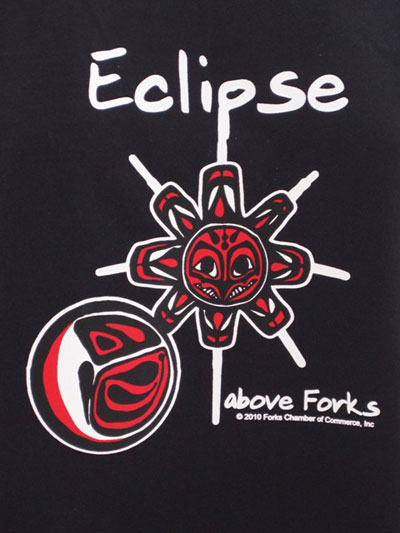 Eclipse Above Forks T-Shirt (Black) closeup