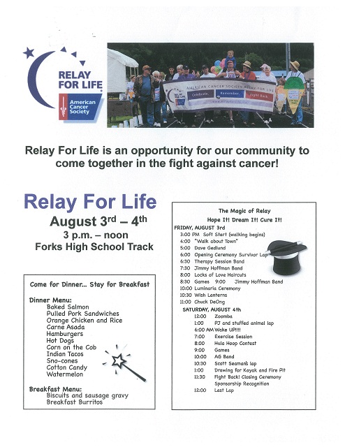 relay for life schedule 2012