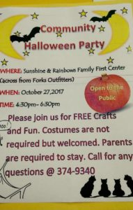 Community Halloween Party @ Sunshine & Rainbows | Forks | Washington | United States