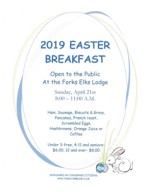 2019 Annual Easter Breakfast @ Forks Elks Lodge | Forks | Washington | United States
