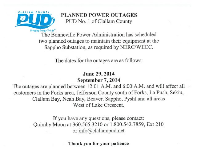 PUD POWER OUTAGES 2014