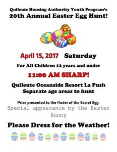 Quileute Housing Authority Youth Program's 20th Annual Easter Egg Hunt @ Quileute Oceanside Resort  | La Push | Washington | United States
