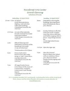 Rainforest Arts Center Grand Opening Schedule