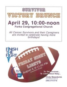 Relay for Life Victory Brunch @ Forks Congregational Church | Forks | Washington | United States