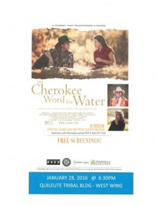The Cherokee Word for Water- Movie Night @ Quileute Tribal Building- West Wing