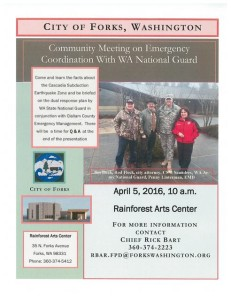 Community Meeting on Emergency Coordination with WA National Guard @ Rainforest Arts Center | Forks | Washington | United States