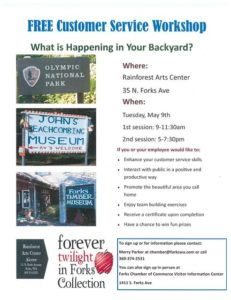 FREE Customer Service Workshop: What is Happening in Your Backyard? @ Rainforest Arts Center | Forks | Washington | United States