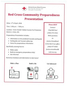 Red Cross Community Preparedness Presentation @ Forks Firehall  | Forks | Washington | United States