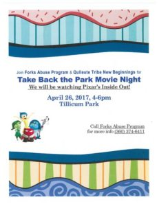 Take Back the Park Movie Night @ Tillicum Park | Forks | Washington | United States