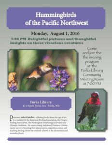 Hummingbirds of the Pacific Northwest @ North Olympic Library System Forks Branch | Forks | Washington | United States