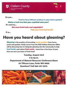 Have You Heard about Gleaning? @ Department of Natural Resources Conference Room | Forks | Washington | United States