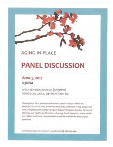 Aging In Place Panel Discussion @ Forks Elks Lodge | Forks | Washington | United States