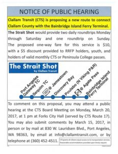 Notice of Public Hearing Clallam County Transit @ Forks City Hall | Forks | Washington | United States