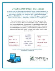 FREE Computer Classes @ Peninsula College Forks Branch | Forks | Washington | United States