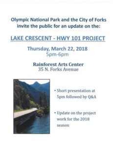 Lake Crescent Highway 101 Project @ Rainforest Arts Center | Forks | Washington | United States