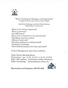 Basic Training for Managers and Supervisors @ NOLS: The Forks Branch Library