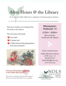 After Hours Library Fundraising Event @ Clallam Bay Branch Library | Clallam Bay | Washington | United States