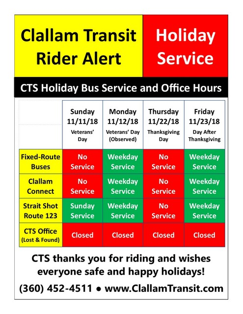 Clallam Transit Rider Alert @ Clallam Transit