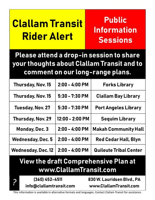 Clallam Transit Rider Alert @ Forks Branch Library, Forks | Forks | Washington | United States