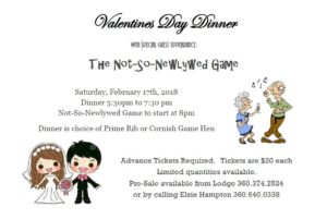 Valentines Day Dinner and The Not-So-Newlywed Game @ Forks Elks Lodge | Forks | Washington | United States