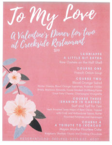 To My Love Valentine Dinner for Two @ Creekside Restaurant | Forks | Washington | United States
