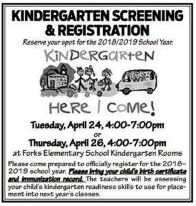 Kindergarten Screening & Registration @ Forks Elementary School Kindergarten Rooms | Forks | Washington | United States