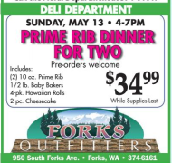 Mother's Day Prime Rib Dinner @ Forks Outfitters | Forks | Washington | United States