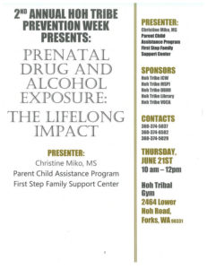 2nd Annual Hoh Tribe Prevention Week Presents: Prenatal Drug and Alcohol Exposure @ Hoh Tribal Gym | Forks | Washington | United States