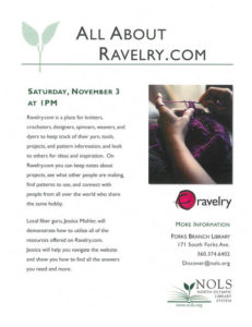 NOLS PRESENTS:  ALL ABOUT RAVELRY.COM AT THE FORKS LIBRARY @ Forks Branch Library | Forks | Washington | United States