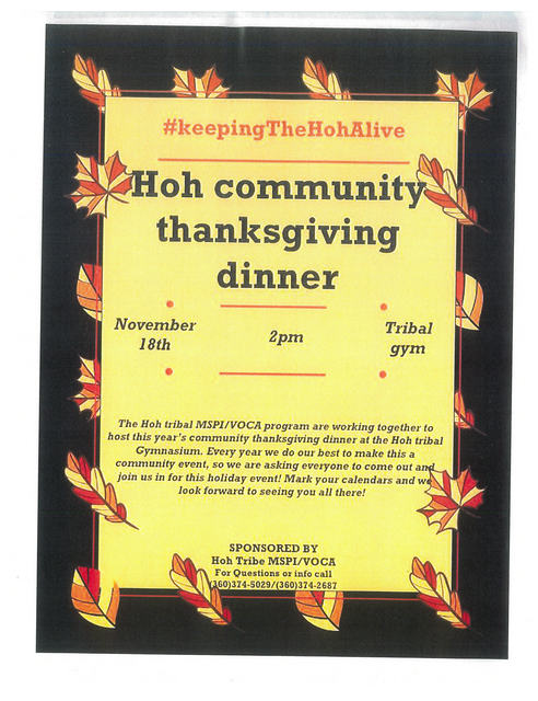 HOH COMMUNITY THANKSGIVING DINNER @ Hoh tribal gym | Forks | Washington | United States