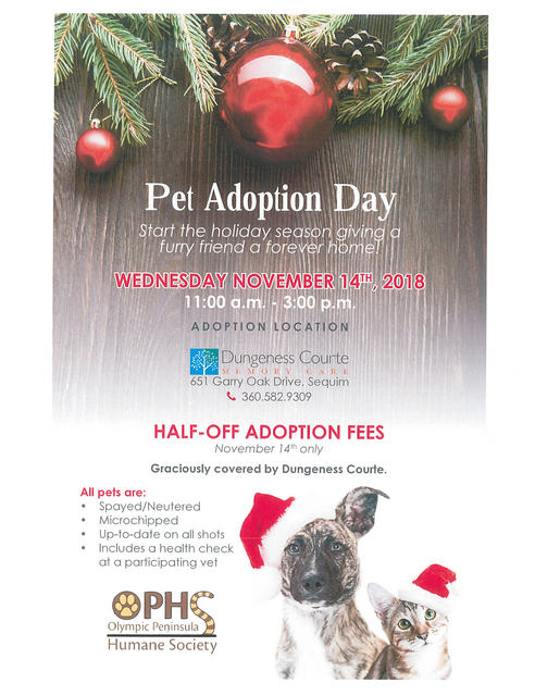 PET ADOPTION DAY @ Dungeness Courte Memory Care | Sequim | Washington | United States