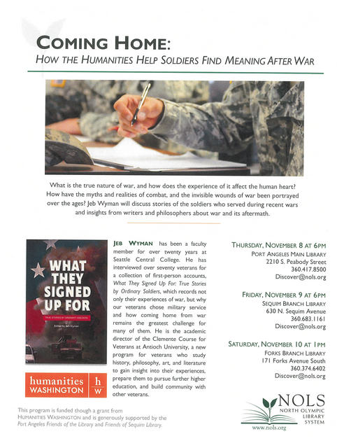 COMING HOME:  HOW THE HUMANITIES HELP SOLDIERS FIND MEANING AFTER WAR @ Forks Branch Library | Forks | Washington | United States