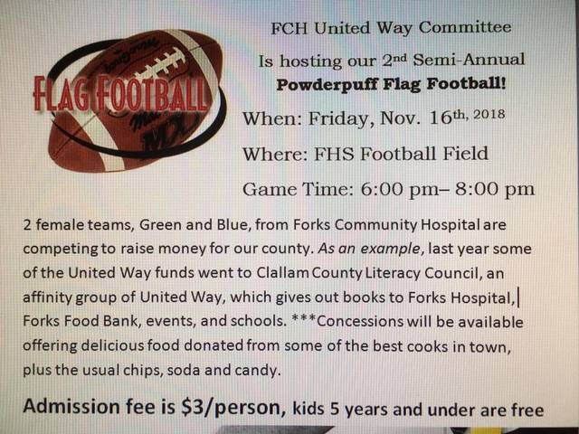 FORKS COMMUNITY HOSPITAL POWDER-PUFF FLAG FOOTBALL @ Forks High School Football Stadium | Forks | Washington | United States