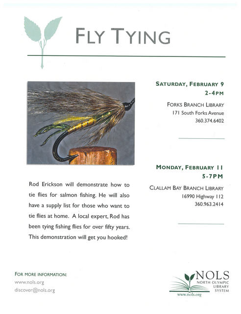 NOLS : Clallam Bay Branch Fly Tying Demonstration @ NOLS Clallam Bay Branch Library | Clallam Bay | Washington | United States