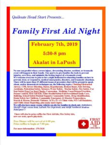 Family First Aid Night @ Akalat | La Push | Washington | United States