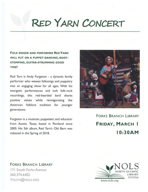 Red Yarn Concert @ North Olympic Library Forks Branch | Forks | Washington | United States