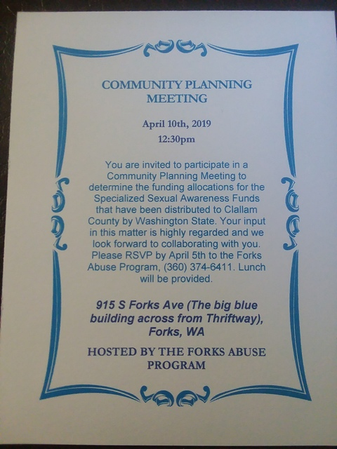 Community Planning Meeting @ Family First Center | Forks | Washington | United States