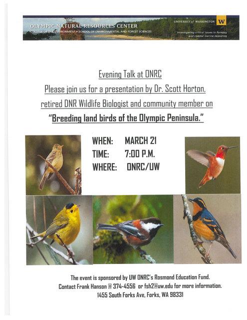 Evening Talks: Breeding Land Birds of the Olympic Peninsula @ ONRC | Forks | Washington | United States