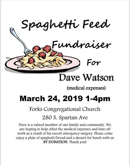 Spaghetti Feed Fundraiser For Dave Watson @ Forks Congregational Church | Forks | Washington | United States