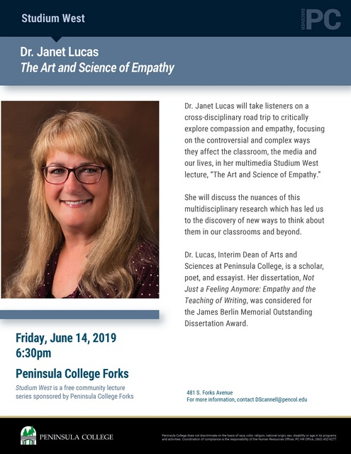 Studium West Presents Dr. Janet Lucas @ Peninsula College Forks | Forks | Washington | United States