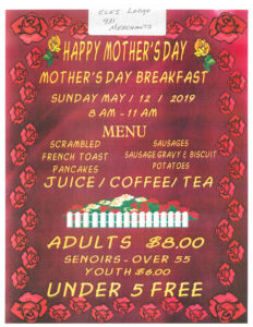 Mothers Day Breakfast @ Forks Elks Lodge | Forks | Washington | United States