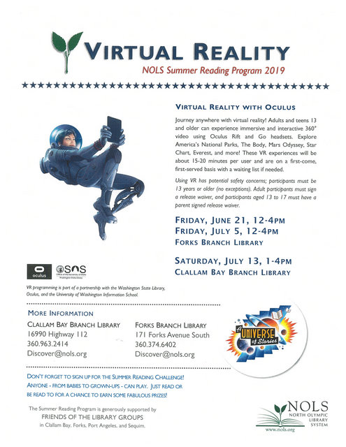 Virtual Reality NOLS Summer Reading Program 2019 @ Forks Branch Library | Forks | Washington | United States