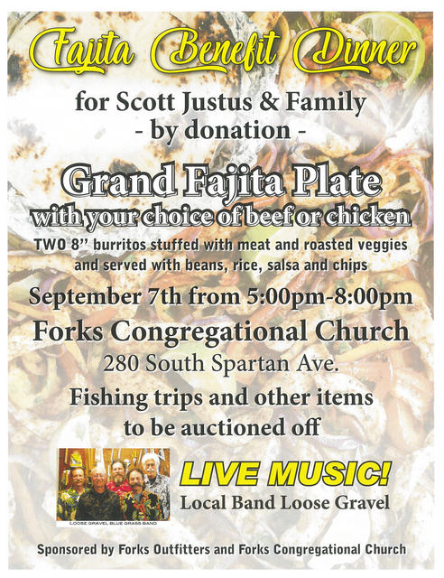 Fajita Benefit Dinner for Scott Justus & Family @ Forks Congregational Church | Forks | Washington | United States
