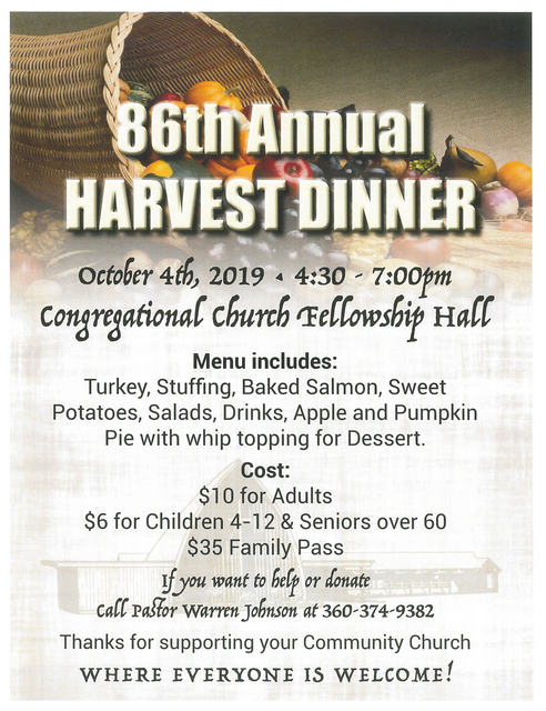 86th Annual Congregational Church Harvest Dinner @ Forks Congregational Church | Forks | Washington | United States