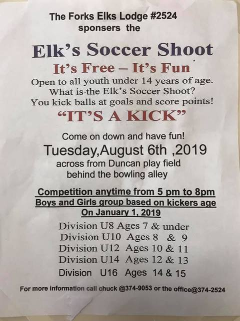 Elk's Soccer Shoot @ 261 E Street | Forks | Washington | United States