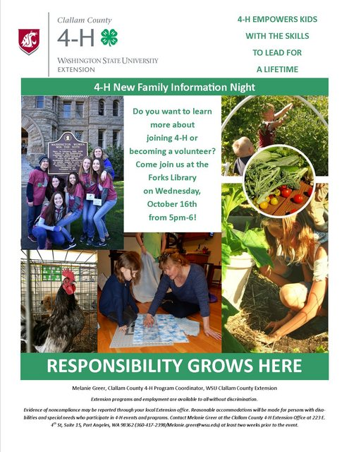 4-H New Family Information Night @ Forks Branch Library | Forks | Washington | United States