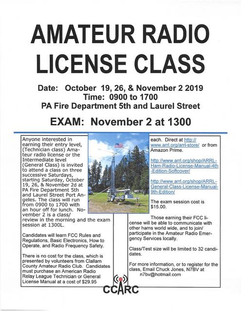 Amateur Radio License Class @ Port Angeles Fire Dept. | Port Angeles | Washington | United States