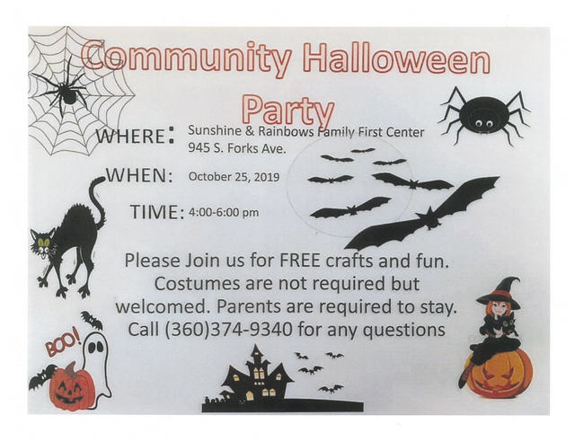 Community Halloween Party @ Sunshine & Rainbows Family First Center | Forks | Washington | United States