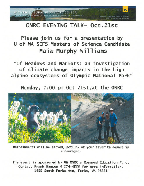 ONRC Evening Talk @ ONRC | Forks | Washington | United States